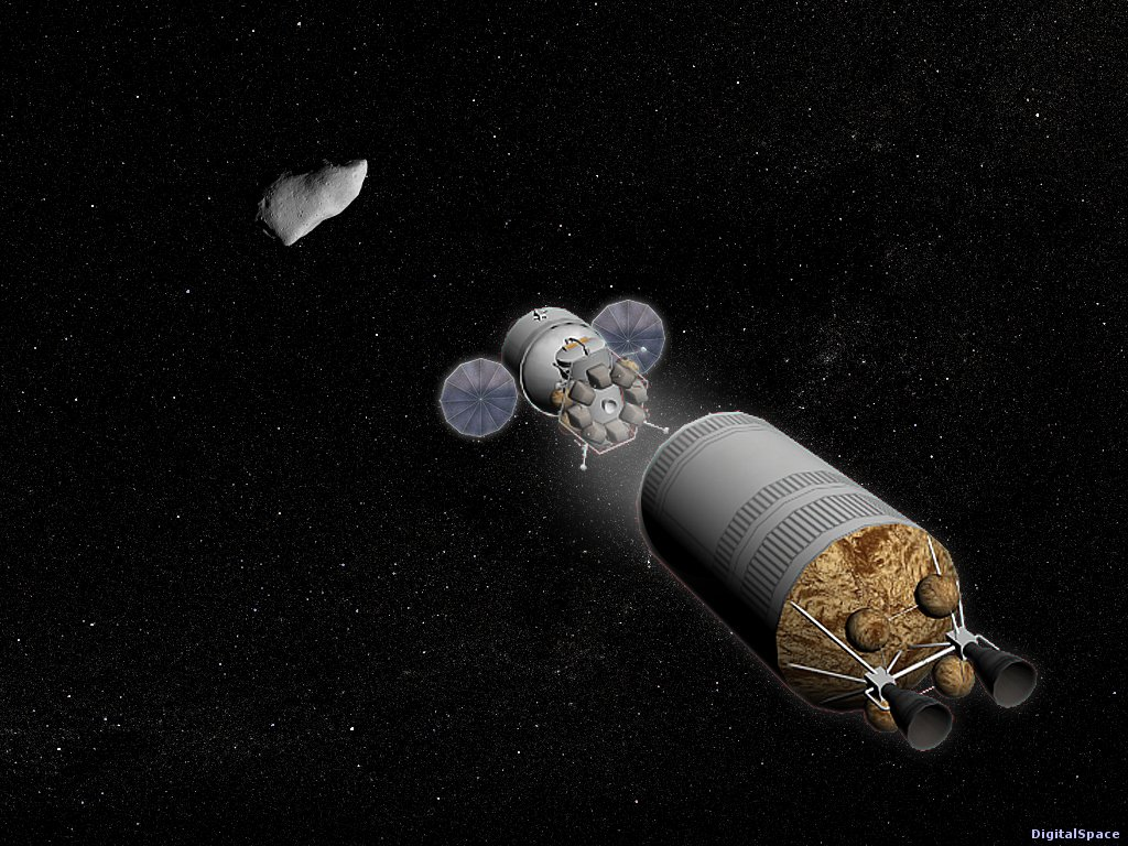 NASA Orion and landing module separate from Earth departure stage